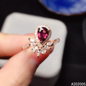 KJJEAXCMY fine jewelry 925 sterling silver inlaid natural Garnet new Female adjustable ring exquisite Support test with box