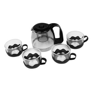 Heat Resistant Clear Glass Flower Kung Fu Teapot 4pcs Teacups Set with Steel Infuser