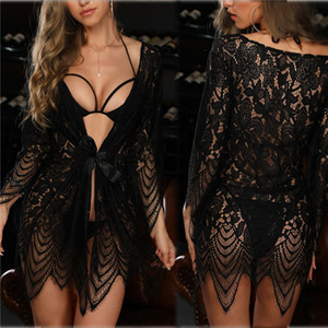 Sexy Frauen Designer-Lingerie Solid Color Mesh-Kleid-Damen Bademantel Lingerie Sexy Anzug Damen Sexy Unterwäsche