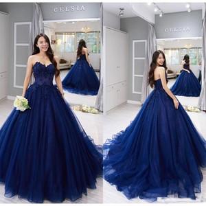 2019 Nova Querida Baile Vestidos de Baile Quinceanera Vestidos Azul Marinho Rendas Applique Vestido de Baile Formal Doce 15 Vestidos de Festa
