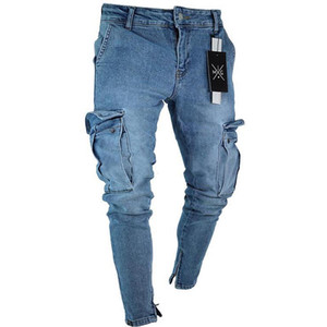 2019 hot sale mens jeans with side pockets black blue skinny denim pants ripped slim-fit trousers mens denim overalls
