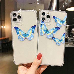 cassa del telefono Carino farfalla blu per iPhone Pro 11 Max XR XS MAX X 7 8 più chiare TPU fundas Soft Cover coque