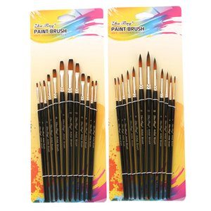 12pcs Nylon Hair Black Handle Watercolor Paint Brush Pointed Flat Head Paint Brushes Set For Watercolor Painting Art Supplies