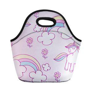 مخصصة النيوبرين غداء حقيبة للنساء كارتون يونيكورن طباعة مربع الغداء الحرارية السفر Lancheira الاطفال فتاة برودة حقيبة