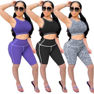 Women fitness Sweatsuit solid color 2 piece sets sleeveless tank top+skinny shorts summer clothing jogger suit plus size yoga outfits 3450