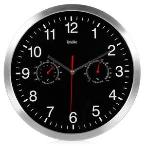 2018 Silent Кварцевые Металлические Настенные Часы Термометр Гигрометр Тихий Развертка Движение No-ticking Home Art Decor Новый Дизайн Q190429