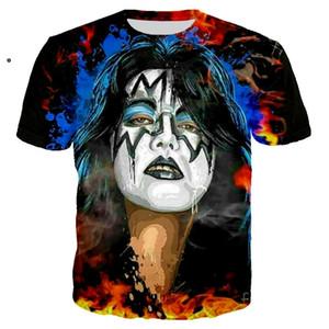 Nuovo arriva stile di Hip Hop Estate band Kiss divertente 3D Stampa Moda Uomo T camicia delle donne supera il trasporto libero XS069