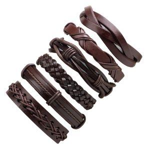 6 unids / set pulsera de cuero tejido de múltiples capas pulseras del abrigo pulsera ajustable Pulseras Joyería de moda Will y Sandy Envío de la gota