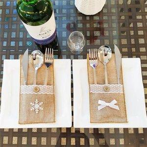 Weihnachtsdeko Besteck-Beutel-Leinen Utensilien-Behälter-Messer-Gabel-Tasche Tabelle Candy Bag Weihnachtsfest-Hochzeit Supplies YZ327