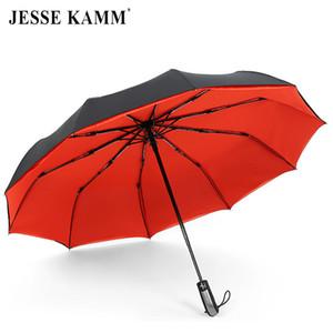 Jesse Kamm completamente automatico doppio baldacchino 190t ombretto pongee 3 pieghevole 10 costole in fibra di vetro forte antivento pioggia per le donne uomini Q190603