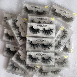 2019 neue falsche Wimpern 3D Mink Wimpern 25mm Natürliche lange Nerzwimpern Hohe Band Flauschige Wimpern-Make-up-Tool