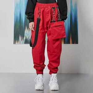 Hot Sale Foot Lantern Long Casual Pants Fashion Chain Patchwork Removeable Pocket Lady Loose Overalls Black,Red Size S,M,L