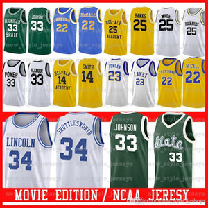 2Michigan State Spartans # 33 Earvin Johnson PODER MEMORIAL 33 LEW Alcindor Bel-Air Academy Filme Jersey Lincoln PODER MEMORIAL LEW Alcindor