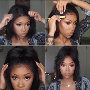 14 pulgadas Corto Bob peluca de encaje encaje sintético pelucas delanteras resistente al calor sin cola sintética recta de la armadura del pelo del cordón pelucas para las mujeres negras