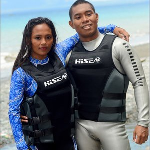 Hisea néoprène Profession Life Vest Hommes Femmes Gilet de sauvetage Gilet de sauvetage Gilet Dérive Surf Life Vest natation en tissu flottant