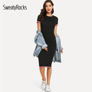 Sweatyrocks Noir Trim Stripe Tee Dress Streetwear Col Rond Femmes Vêtements Décontractés 2019 Nouveau Printemps Été Moulante Robe Longue Y190507