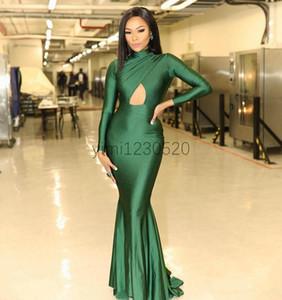 Green Mermaid Prom Dresses 2020 High Neck Long Sleeve Hollow Pleats Women Formal Evening Party Gowns vestidos de fiesta Plus Size Custom