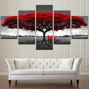 Modular Leinwand HD-Druck Poster Wohnkultur Wand-Kunst-Bilder 5 Stück Rot Baum-Kunst-Landschaft-Landschaft Gemälde Rahmen