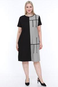 Лира Большого размера женщины Половина рукав платье Серый корабль из Турции L1621 2599