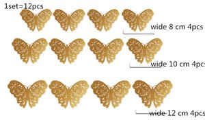 Gold silver 12pcs set 3D PVC Wall Stickers Butterflies Hollow DIY Home Decor Poster Rooms Wall Decoration Party Wedding