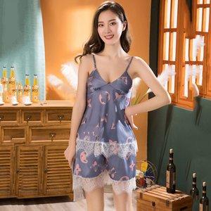 Lace lusso L Lettera Donna Sexy Lingerie Silk Sleepwear Sling stampa casa pigiama Set di abbigliamento delicatamente profonda V Slim Fit sleepdress Femminile