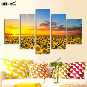 Wall Art Canvas Picture Beautiful Sunset with Sunflower Painting for Modern Living Room Home Bathroom Decor Artwork Framed T200608
