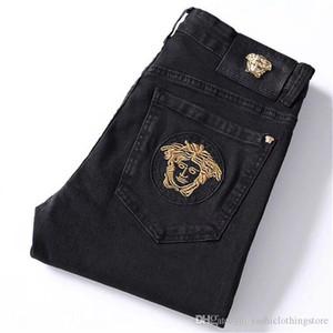 animal tendance mode des jeans brodés de l'automne hommes / hiver nouvelle forme minceur noir petits pieds de long pantalon
