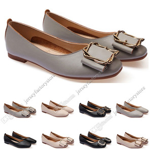 ladies flat shoe lager size 33-43 womens girl leather Nude black grey New arrivel Working wedding Party Dress shoes Forty-seven
