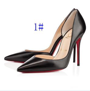 2020 Klassische Christen Frauen rote untere Pumpen-Absatz-Blick-Zehe-Stilett-Kleid-Schuh-Plattform-Glanzleder-Matte color08CM 10CM 12cm