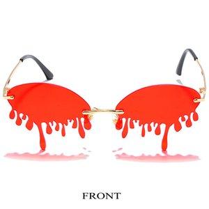 fase rosso passerella lacrime gli occhiali da sole Flame Occhiali da sole del fuoco Donne epoca senza orlo di Cat Eye Sun zUnY1 hotclipper OzqQq