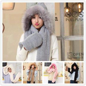 Зима Hat шарф перчатка девушки женщин зима теплой Утолщенная Плюшевые Три-Piece Hat шарф перчатка из трех частей Cap