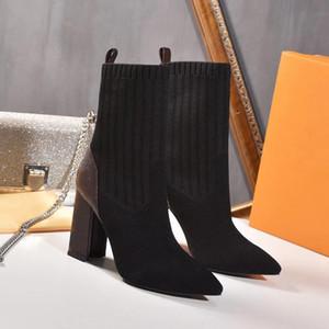 Hot Sale-Femmes cheville HLAF haut talon Sock bottillons Mesdames HighTop Bottes Aftergame sexy quinconces talon chaussures femme