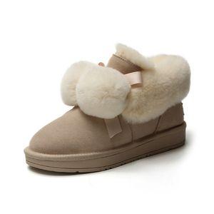 2019 Women Snow Boots Winter Fur Ankle Boots Female Warm Furry Fur Suede Rubber Flat Slip on Fashion Ladies Platform Shoes