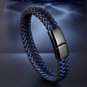 Bracelet en cuir tressé noir inoxydable fermoirs hommes poignet main Bracelet