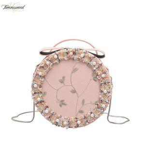 Lace Flower Pearl Handbag 2020 New Handbag Quality Pu Leather Sweet Round Flower Lace Shoulder Messenger Bag