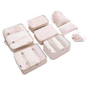 8 pcs / set Packing viagem Cubos bagagem Organizador duráveis sacos de viagem de poliéster bagagem de mão impermeável sacos de embalagem para Suitcase