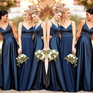 Sexy Spaghetti Straps Satin Bridesmaid Dresses Navy 2020 Backless Formal Dress For Wedding Guests A line Wedding Party Dress Vestidos De Fes