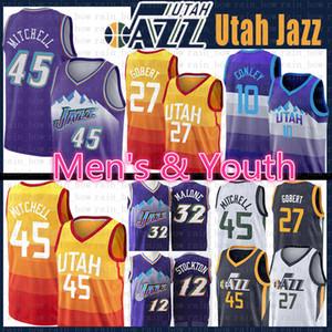 NCAA Donovan 45 Mitchell Rudy 27 Gobert Jazzs Basketball Jersey John Stockton 12 Karl Malone 32 Mike Conley 10 Jerseys Mens juventude caçoa