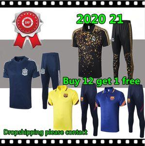 2020 21 Polo Maillots de soccer 20 21 Costume Hommes Polo Espagne équipe de football bleu clair Chemise à manches courtes