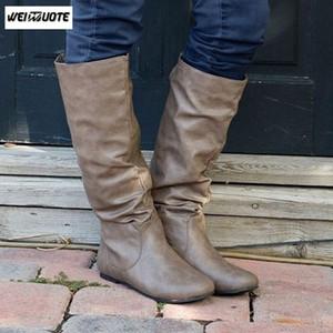 WEINUOTE Otoño Invierno Moda Mujeres Slouch la media pantorrilla botas de cuero plana del talón de los zapatos al aire libre ocasionales botas de montar Botas Femininas