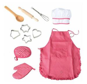 Качество Мода Дети Приготовление пищи и выпечка игра Делюкс кухня шеф-Set костюм девушка / Boy Chef Фартуков