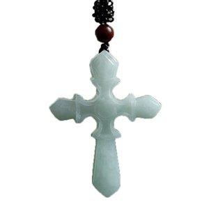 Ожерелье Мьянмы Emerald Крест Нефритового камень Лаки Amulet крест ожерелье изящные ювелирные изделия с цепью Мужчины Женщиной подарок