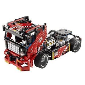 608pcs Race Truck Car 2 In 1 Transformable Model Building Block Sets DIY Toys Compatible Kids Gifts