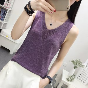 Knit Camis Top Women Knitting Tank Tops Camises Girls V Neck Basic Knitwear Camisole Sleeveless Sweater T Shirts Top For Woman