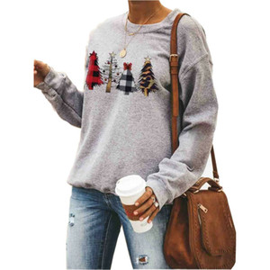 Cálido NUEVO Navidad Mujeres camiseta de manga larga con capucha del invierno Otoño O cuello jersey Tops manera ocasional