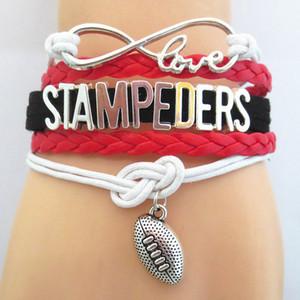 Infinity Love Stampeders Football Fan Bracelet Handmade Wristband Friendship Sports Bracelets B09643