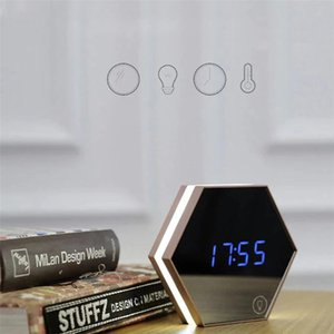 Upgrade fashion Mirror and LED Alarm Clock Touch Control LED night lights display electronic desktop Digital table clocks Vanity Mirror Ther