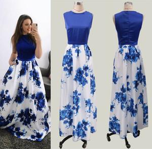 Royal Blue Printed Long Women Party Dress 2019 Economici Estate Boho Flora stampato donne occasione Prom Abiti da sera partito yl57-2067