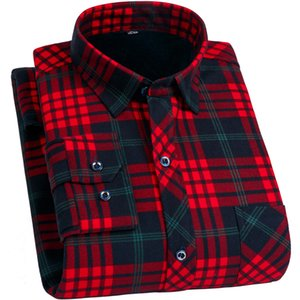 FillenGudd Plus Size 8XL Winter Mens Plaid Thermal Shirts Long Sleeve Warm Red and Black Printed Male Shirts Velvet 7XL 6XL 5XL Y200104