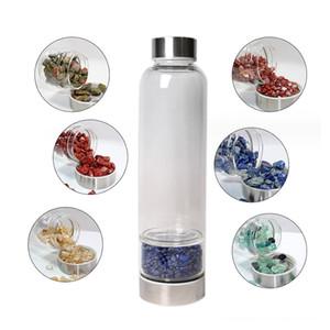 Bottiglia cristallo naturale di vetro di quarzo Acqua Schiacciato bottiglie quarzo Obelisco bacchetta energia di guarigione in acciaio inox Cap